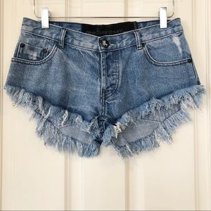 one teaspoon |  Distressed Frayed Hem Denim Shorts